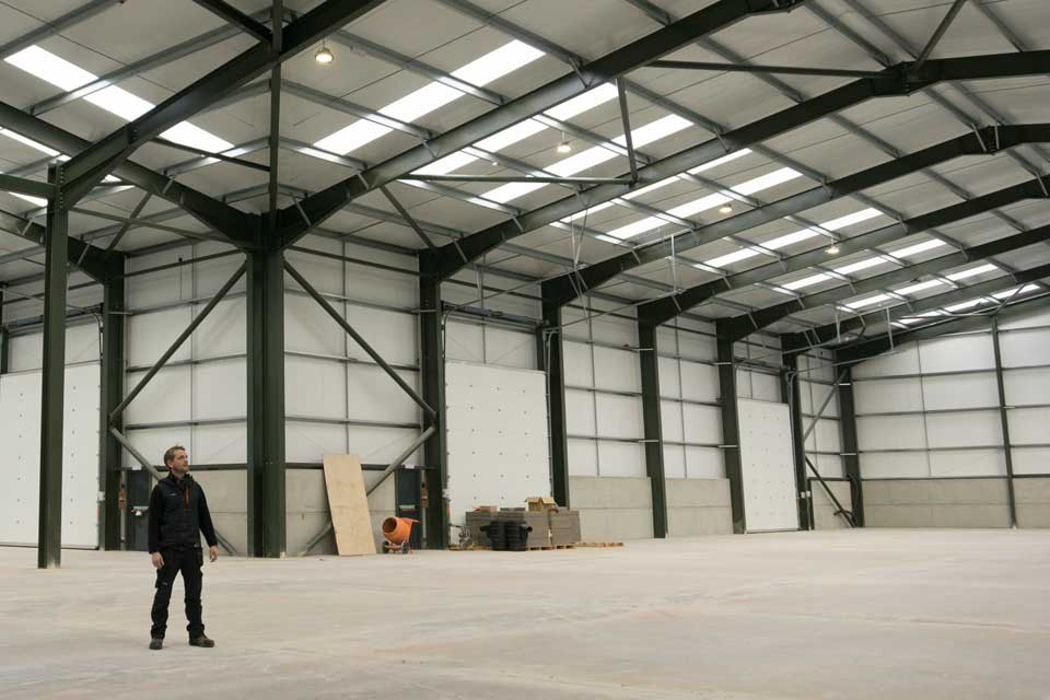 Managing Director, Jonathon inspecting the latest industrial building built by YSB